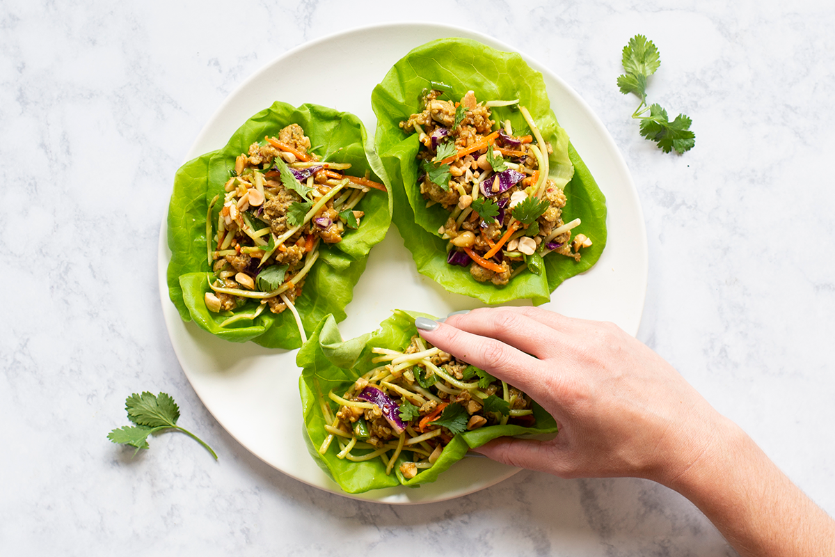 Mighty Spark's Sweet Thai Chicken Lettuce Wraps