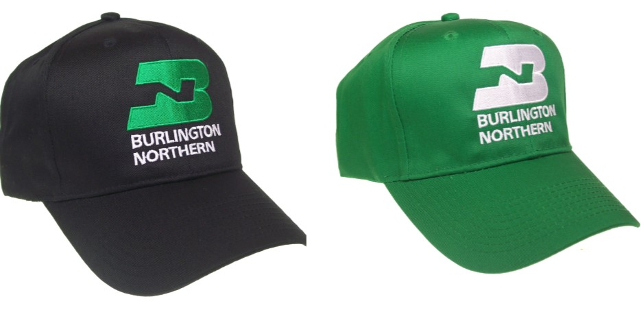 Burlington Northern Railway Embroidered Railroad Cap #40-0046 Choose Hat Color