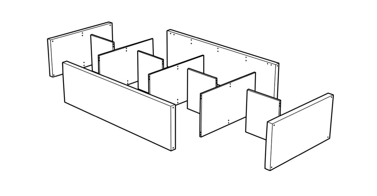 Example of the IKEA kalax cabinet modular design