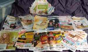 organizing coupons on the bed