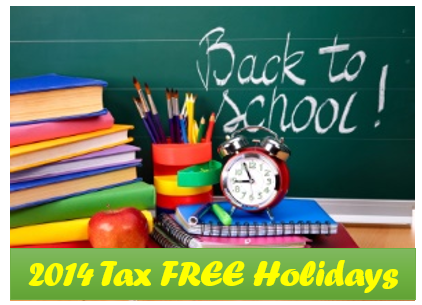 back to school Sales Tax Holiday 2014