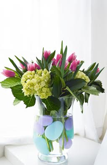 Easter Egg Tulips and Hydrangeas