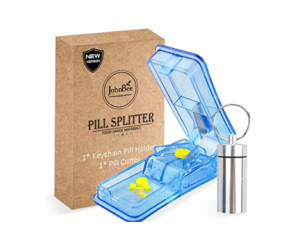 Pill Cutter with Key Chain Pill Holder