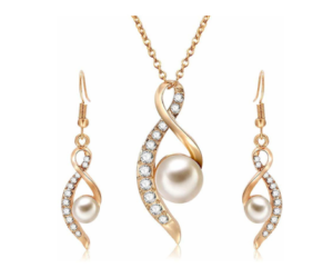 Earrings Pendant Necklace Set with Simulated Pearl