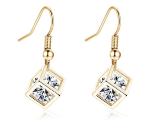 Crystal Long Dangle Earrings in Gold Color