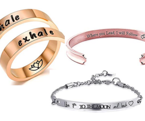 Cuff Bracelets & Rings with Inspirational Sayings