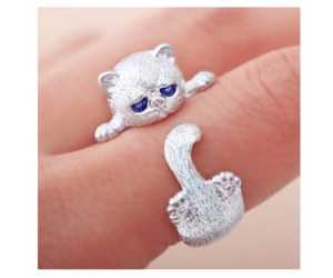 Girls Cute Cat Ring Adjustable Silver