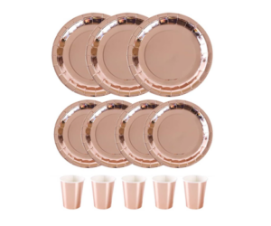 Paper Plates & Cups, 72pc, in Rose Gold Color