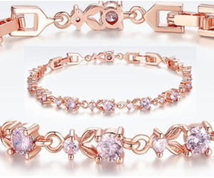 Rose Gold Plated Bracelet 5 Stone Choices
