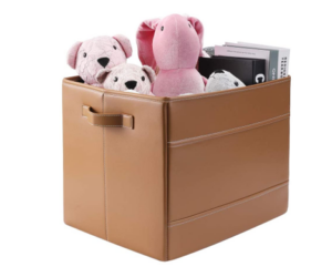 Storage Cube in Faux Leather, Brown or Grey
