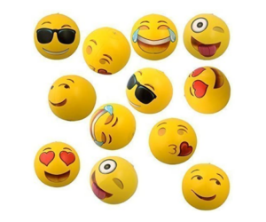 Emoji Inflatable Beach Balls, 6 Designs, 2 of Each