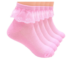 Girls Ruffle Socks Five Pack, 4 Colors, 2 Choices