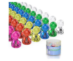 Push Pin Magnets 60 Pack, 7 Assorted Colors