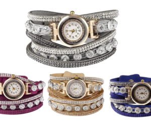 Bracelet Watch with Rhinestones in 12 Colors
