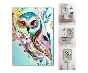 Canvas Owl Hanging Embroidered