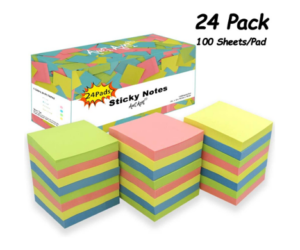 Sticky Notes, 24 Pack, in Assorted Colors
