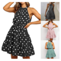 Polka Dot Halter Dresses with Front Bow Sash