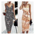 Sleeveless V Neck Print Dresses for Women