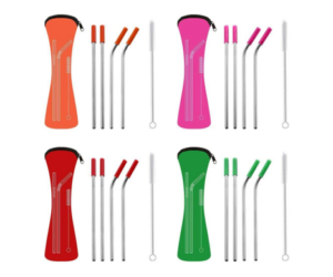 Stainless Steel Straw Sets with Cleaning Brushes