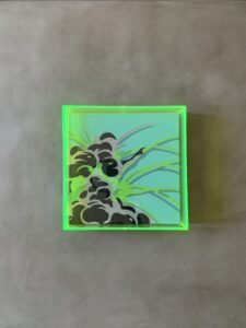 'Up in Smoke' 12x12' Gallery Wrapped Canvas. Acrylic paint & acrylic neon custom frame. 2020.