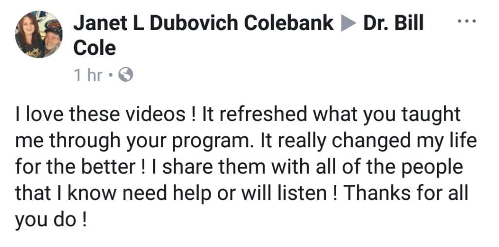 Dr Bill Cole Testimonials