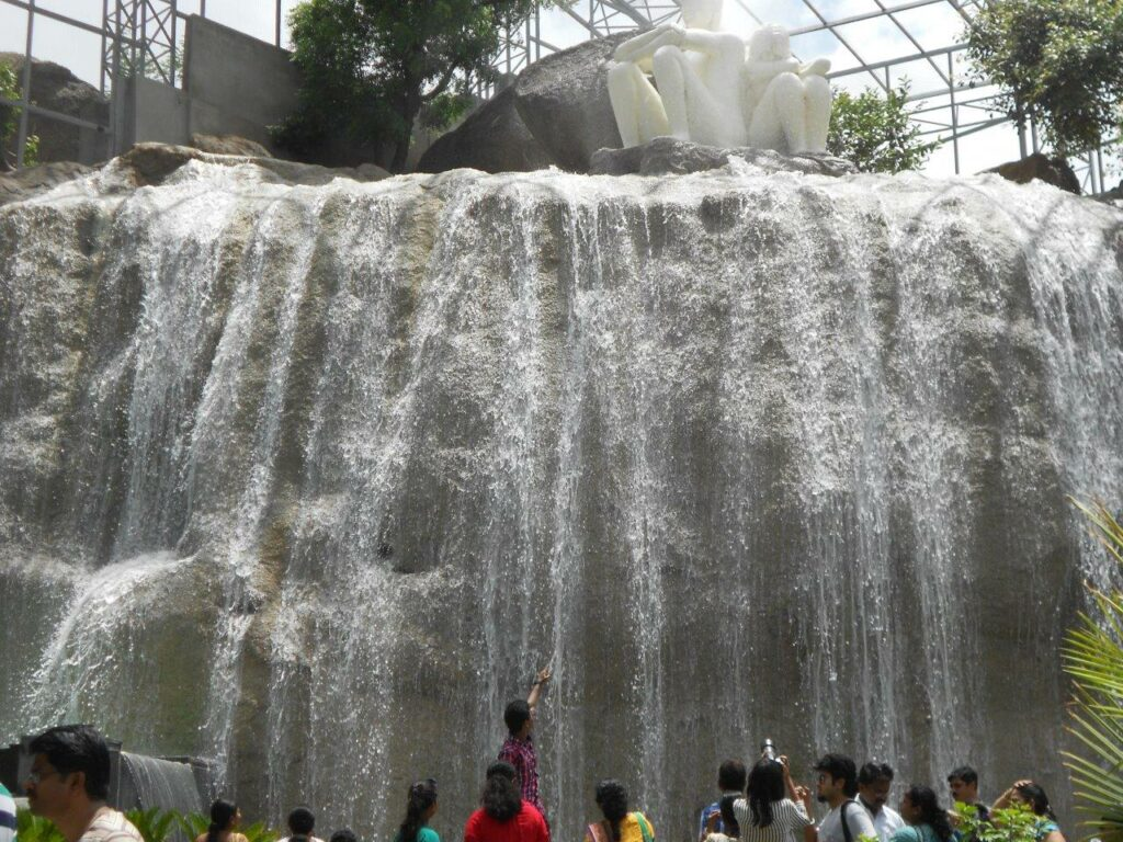 Artificial waterfall inside the birds enclosure 'wings'