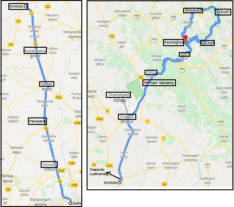 Delhi Chail Route Map