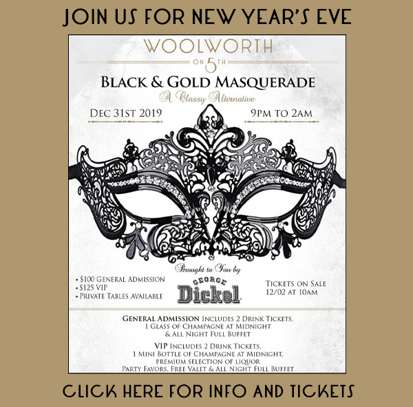 New Year's Eve text for invitation and a mask image