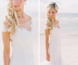 Off the Shoulder Wedding Gown | Clearwater Beach Bridal Portrait