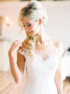 Clearwater Beach Bridal Portrait in Off The Shoulder Lace Wedding Dress