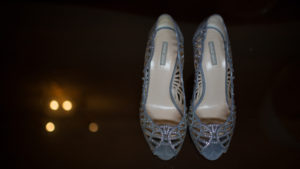 Blue Grey Giorgio Armani Wedding Shoes with Rhinestones