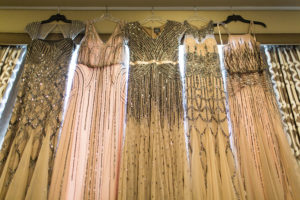 Adrianna Papell Beaded Blush Pink and Nude Tan Wedding Bridesmaids Dresses