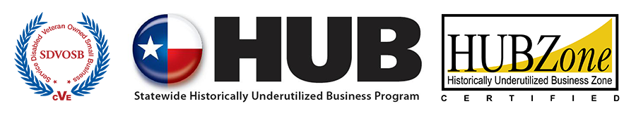 Service Disabled Veteran Owned Small Business, Statewide Historically Underutilized Business Program, and HubZone certifications