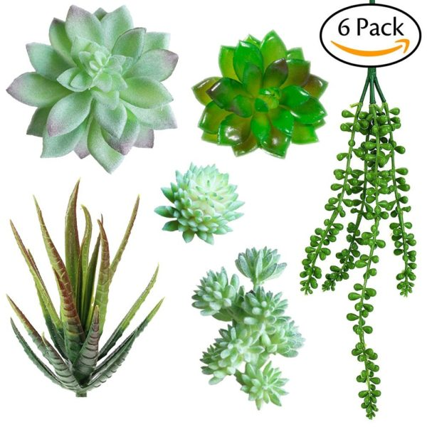Christmas Succulent Arrangement.Supla Pack Of 6 Assorted Artificial Echeveria Succulent Picks Fake Hanging String Of Pearls Plant In Flocked Green And Green 4 1 3 Wide For Floral