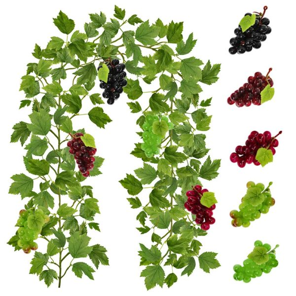 Artificial Grape Leaf Vine Hangings Garland With 3 Bunches Dark Wine Red Grapes