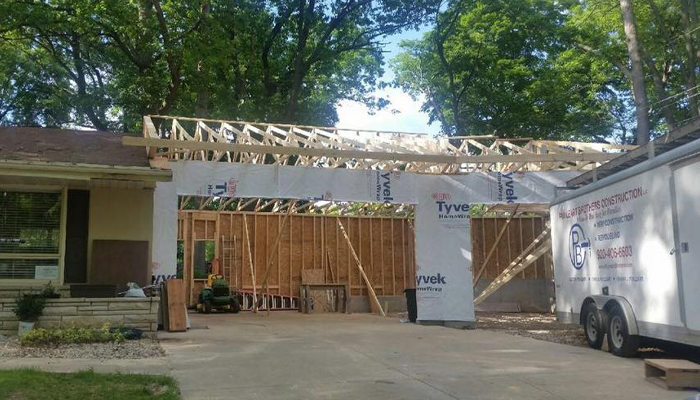 Garage during addition to 2 stall