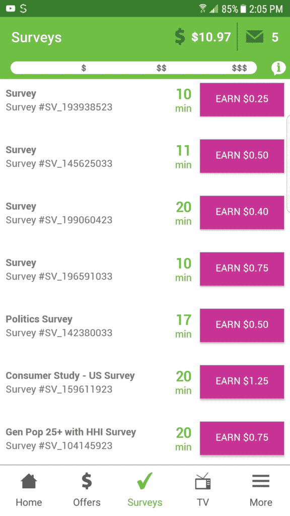 """image of inbox dollars review under """"survey"""" section in website"""