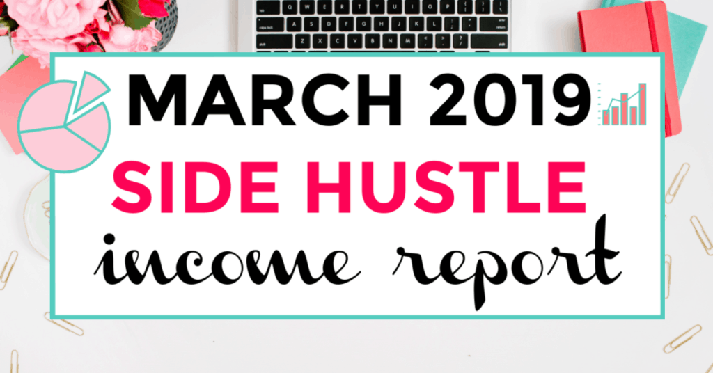 Side hustle income report march 2019. featured image of keyboard and journal in background.
