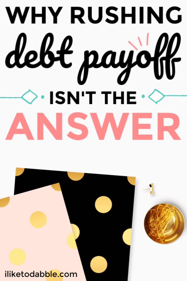 Why rushing debt payoff isn't the answer. Don't take away your quality of life because you think getting out of debt is more important. I tell you in this post how debt can actually help you. Image of two journals and paper clips. #payoffdebt #moneytips