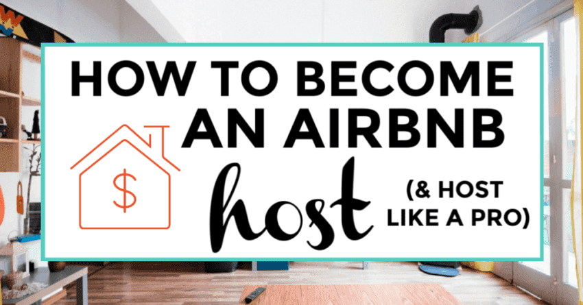 how to become an airbnb host. featured image of interior of a living room.