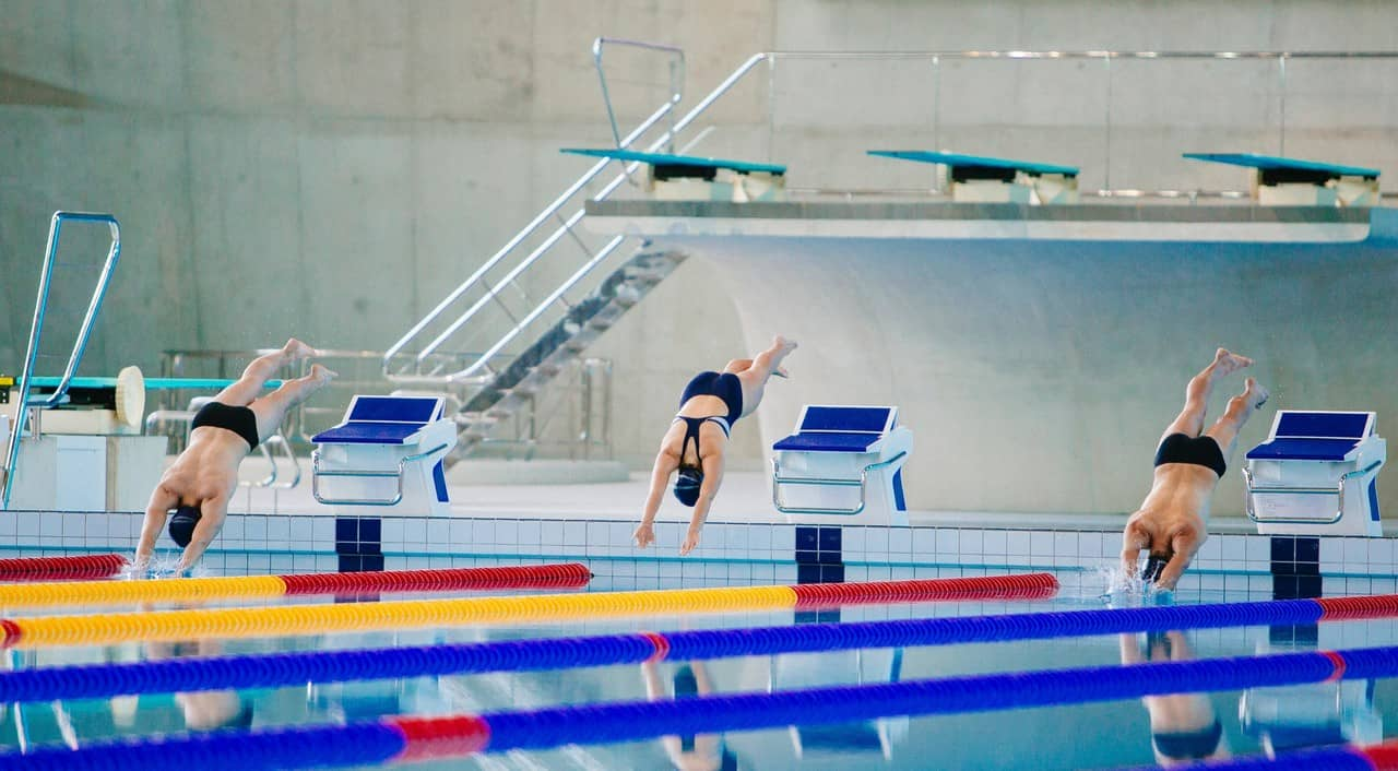 hobbies that make money - swimming - three competitive races diving into the pool commencing to race