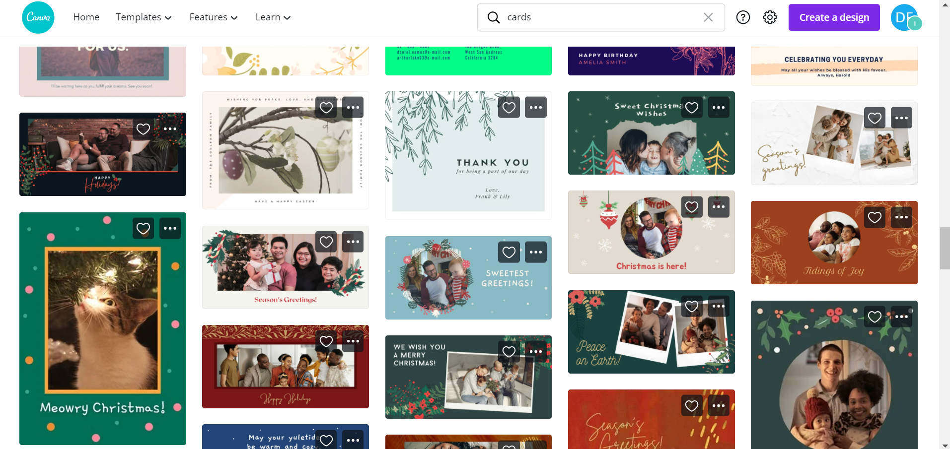 snapshot of canva card templates for virtual money gift ideas