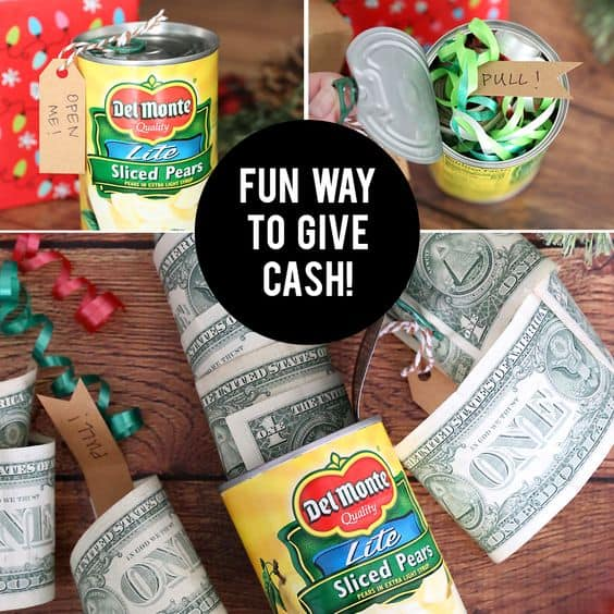 Money in a canned food item, gag idea