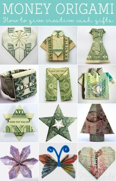 origami gift made out of money