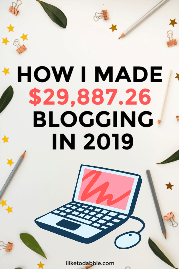 How I made $30,000 blogging in 2019 and what is to come in 2020. Image of pencils, laptop, bay leaves and paper clips. #makemoneyblogging #sidehustle #smallbusiness #entrepreneur #makemoneyonline #makemoney