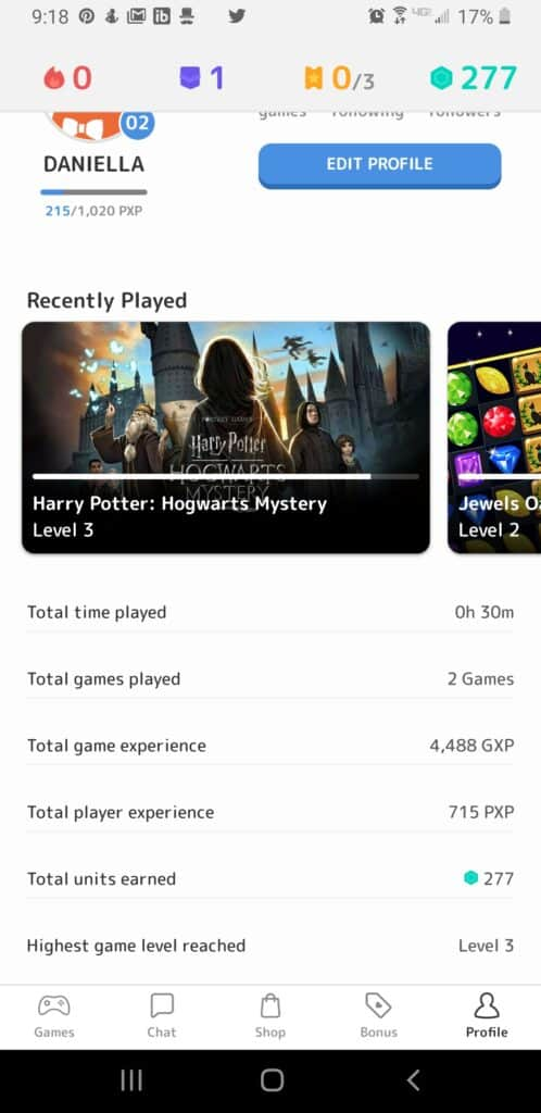 Mistplay review - player history screenshot