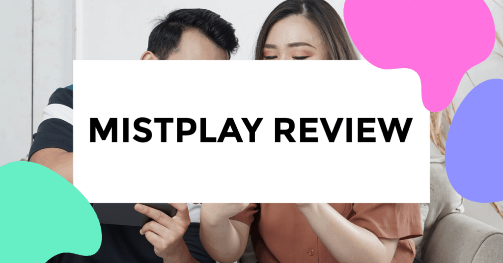 mistplay review. featured image of couple playing an online game off their phone.