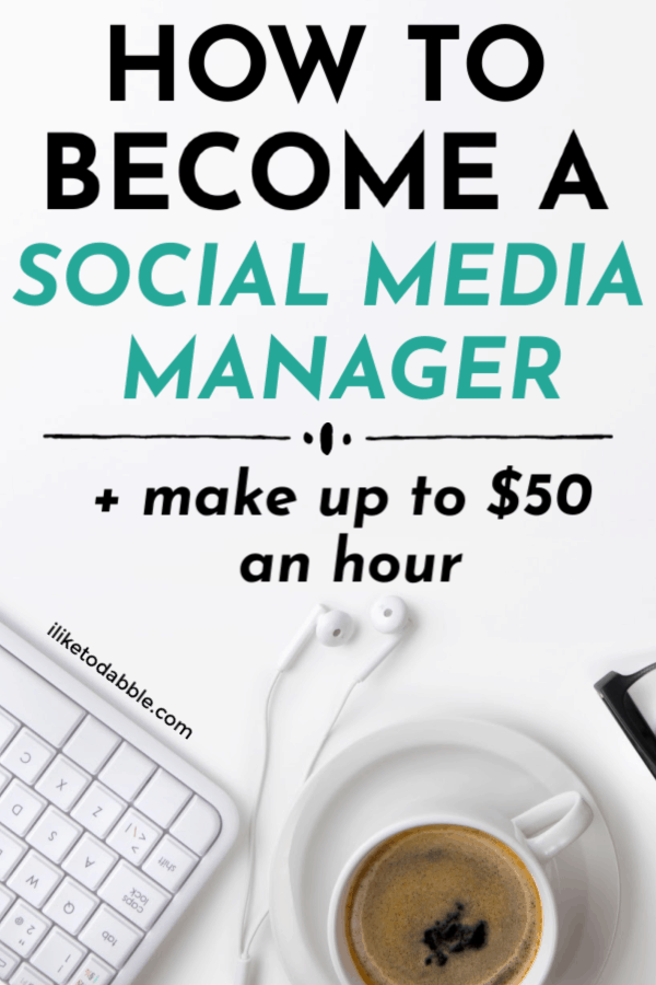 Social media manager skills and how to get started (+ make up to $50 an hour as a social media manager) Image of keyboard, coffee cup and headphones on a desk. #socialmediamanager #socialmedia #marketing #sidehustleideas #sidehustles #makemoney #makemoneyonline #workfromhome