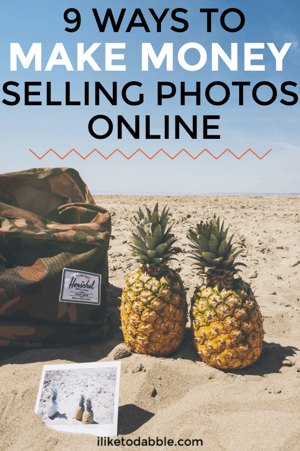 How to make money selling photos online. Image of two pineapples and a bag on the beach. #makemoneyonline #sellphotos #stockphotos #sellonline #sidehustles