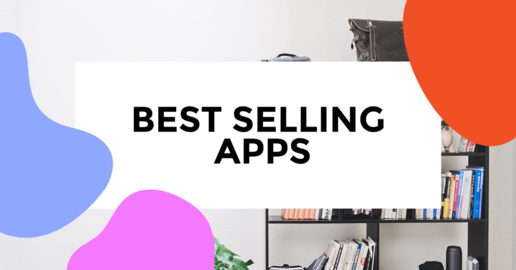 best selling apps featured image with living room in background with a dominant bookshelf taking center of the pnoto.